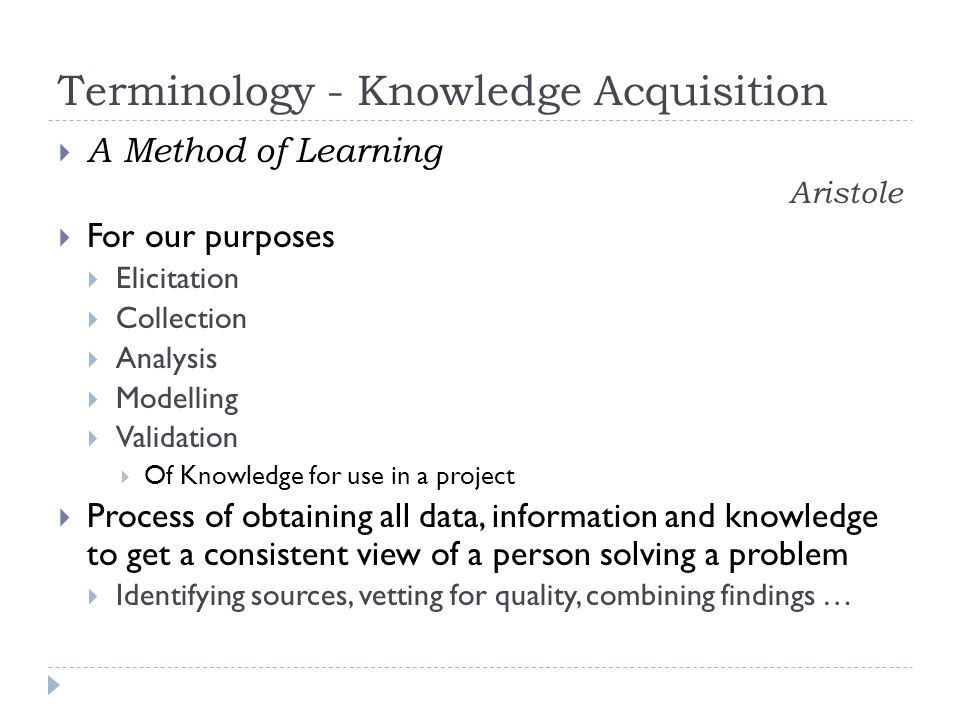 Terminology - Knowledge Acquisition