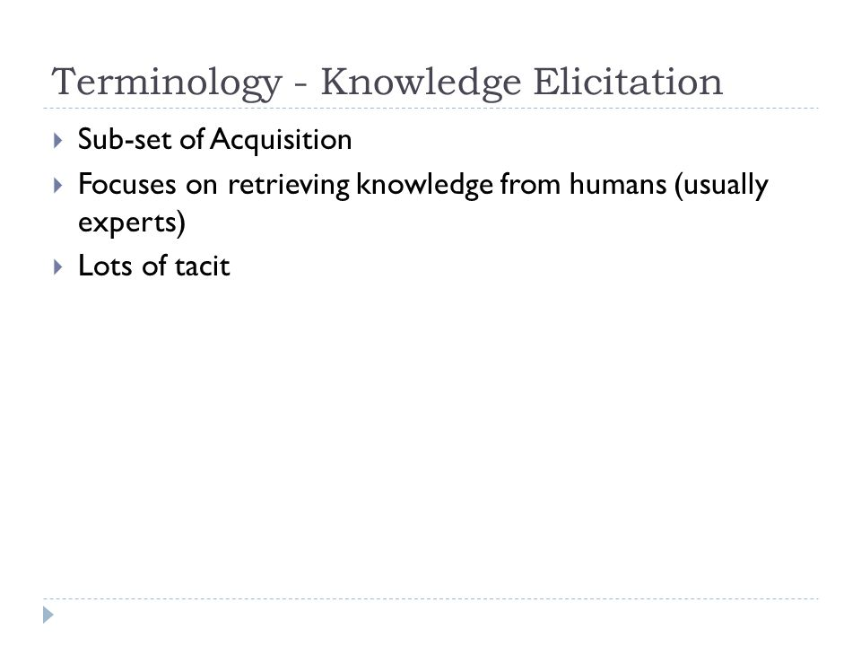 Terminology - Knowledge Elicitation
