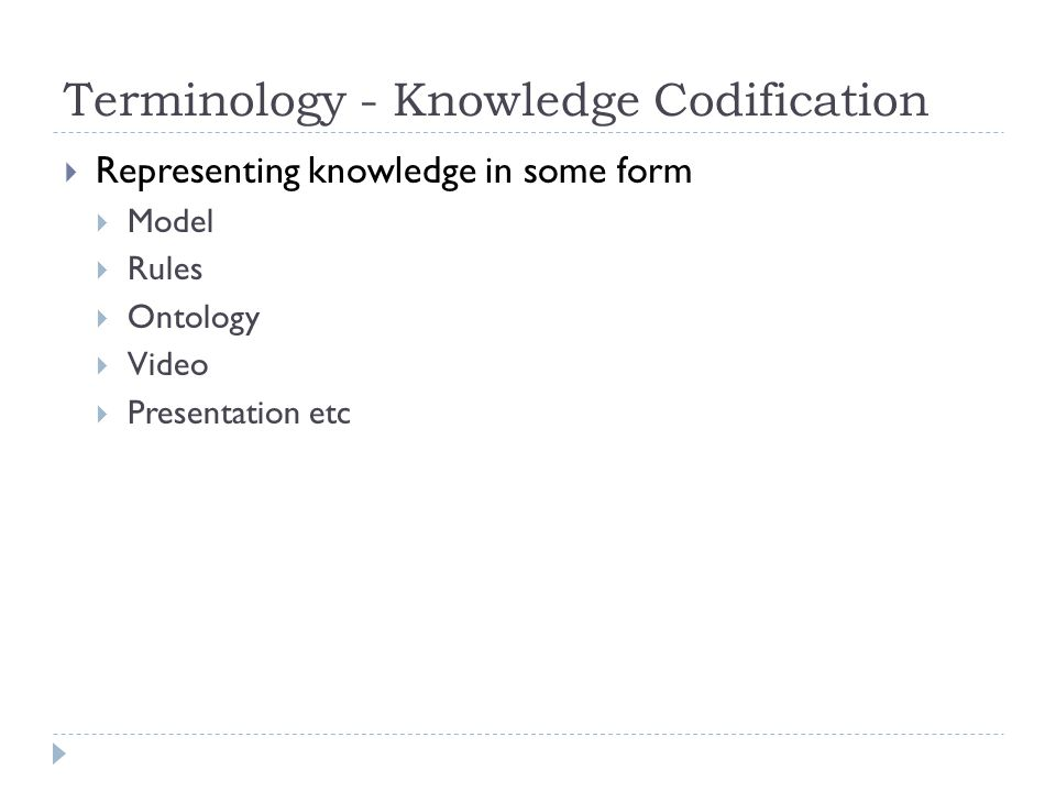 Terminology - Knowledge Codification