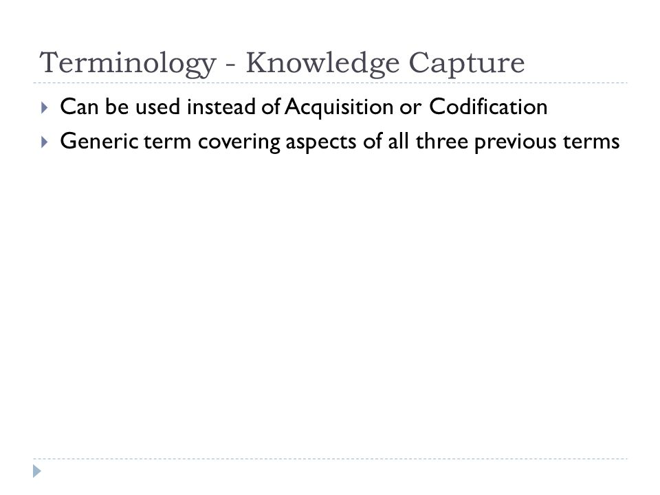 Terminology - Knowledge Capture