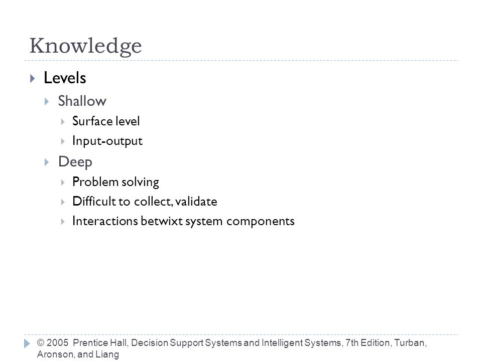 Knowledge Levels Shallow Deep Surface level Input-output