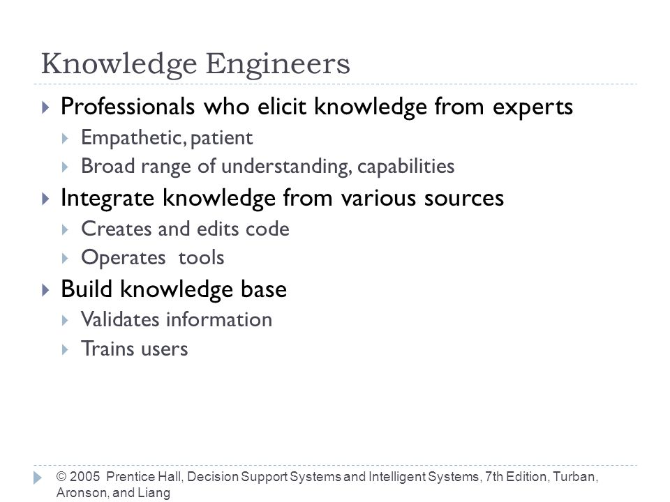 Knowledge Engineers Professionals who elicit knowledge from experts