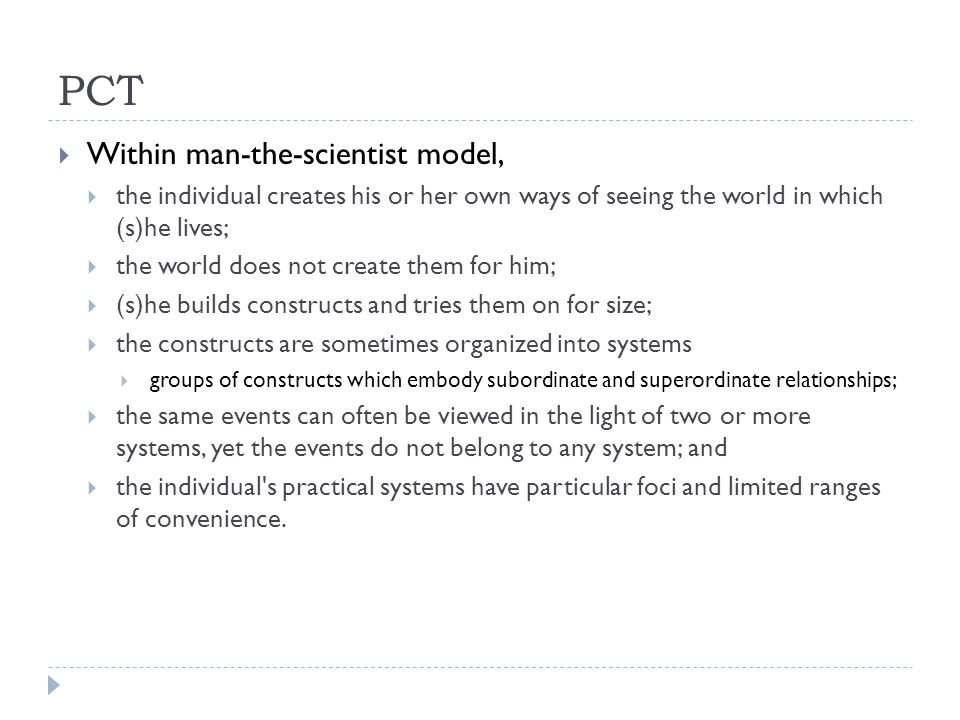 PCT Within man-the-scientist model,