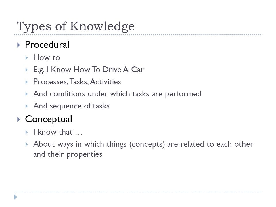 Types of Knowledge Procedural Conceptual How to