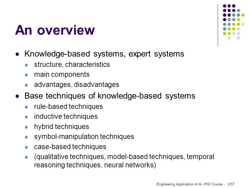 An overview Knowledge-based systems, expert systems