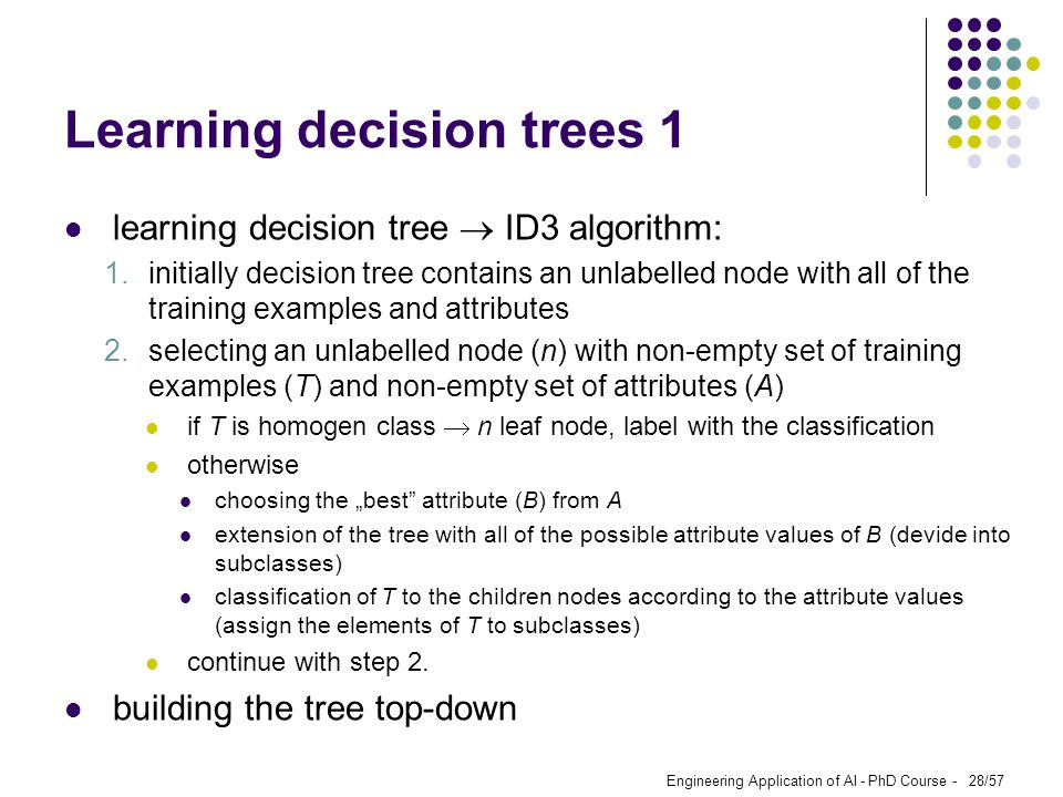 Learning decision trees 1