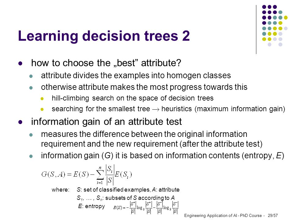Learning decision trees 2