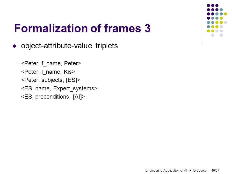 Formalization of frames 3