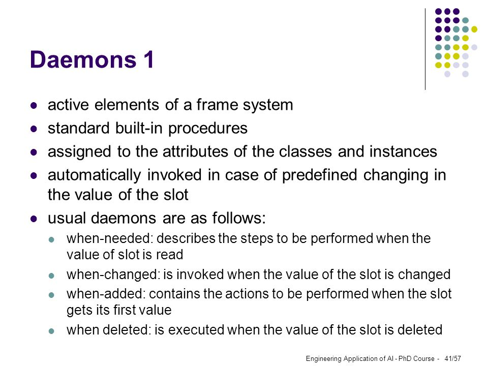 Daemons 1 active elements of a frame system