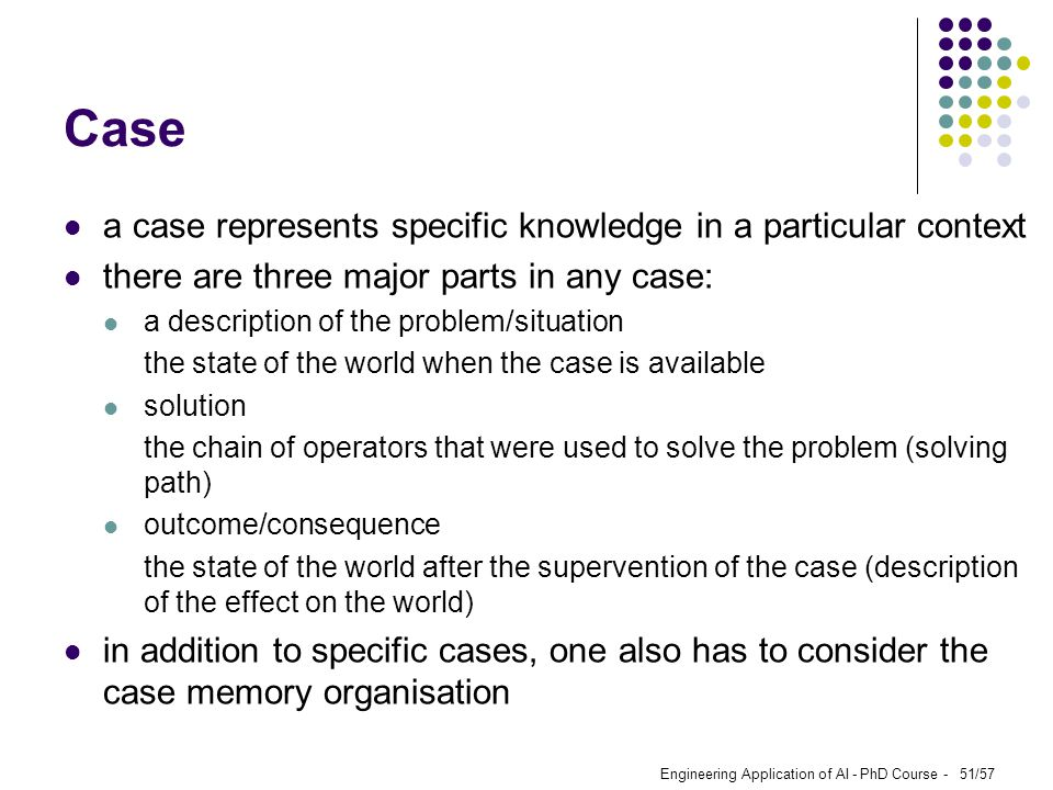 Case a case represents specific knowledge in a particular context