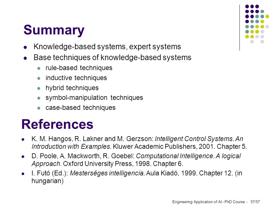 Summary References Knowledge-based systems, expert systems