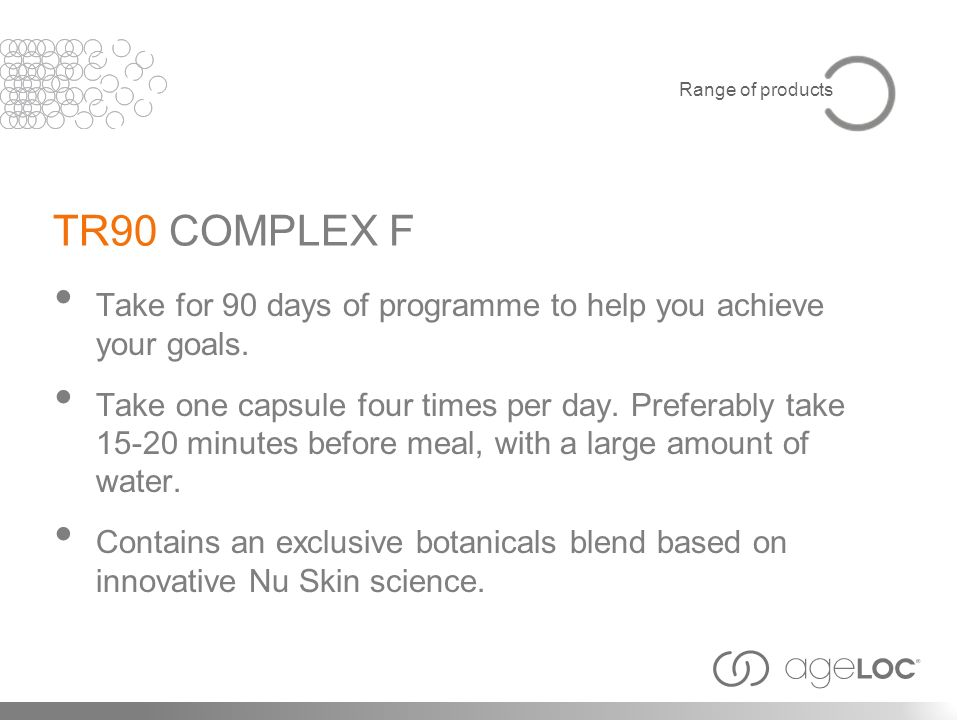 Range of products TR90 COMPLEX F. Take for 90 days of programme to help you achieve your goals.