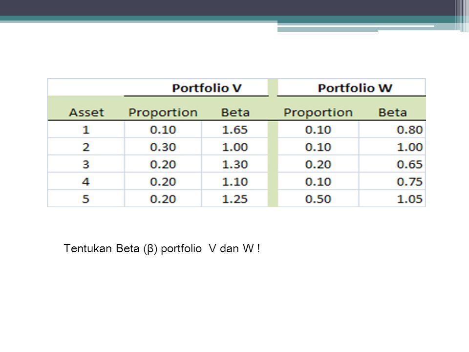 Tentukan Beta (β) portfolio V dan W !