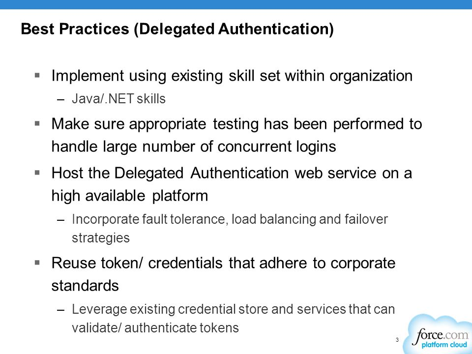 Best Practices (Delegated Authentication)