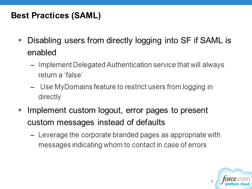 Disabling users from directly logging into SF if SAML is enabled