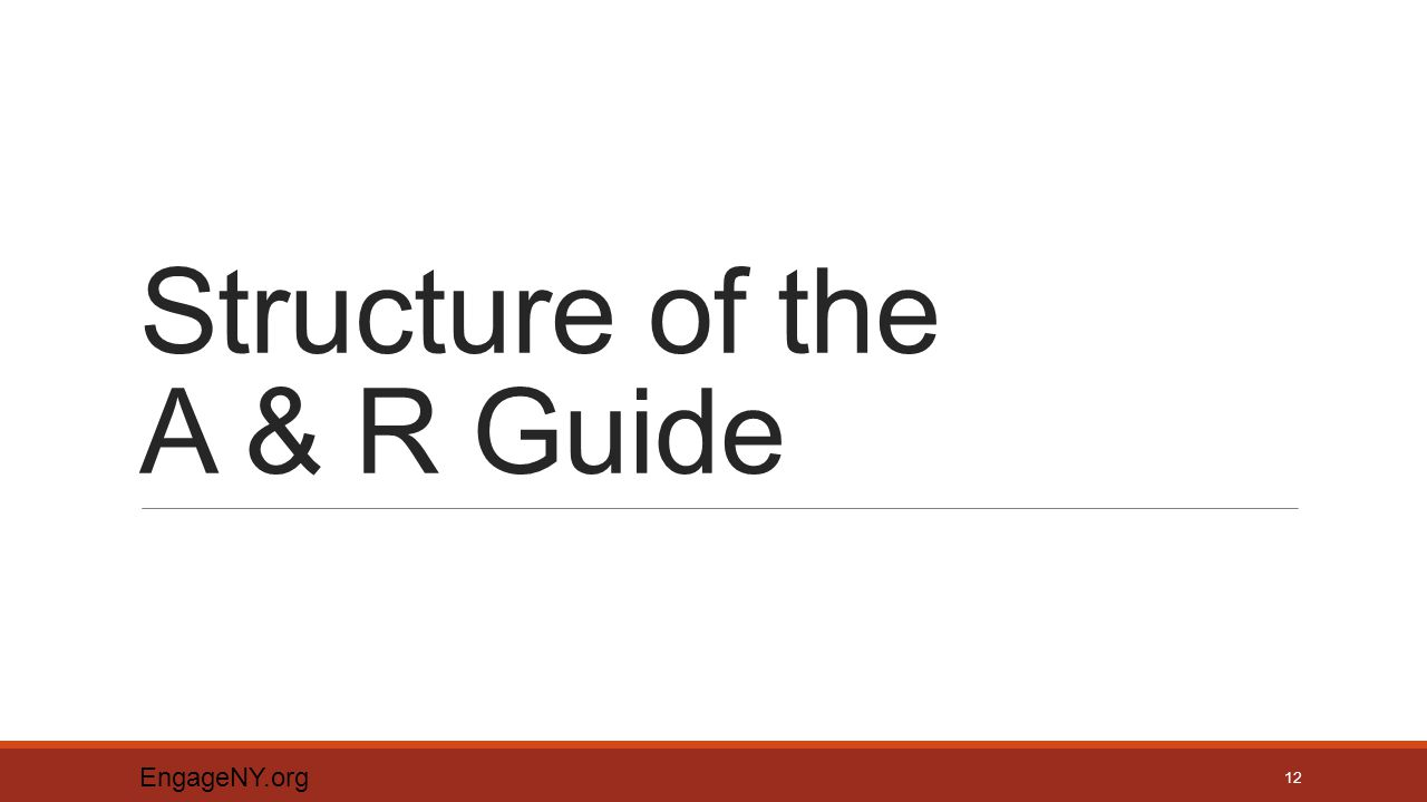 Structure of the A & R Guide