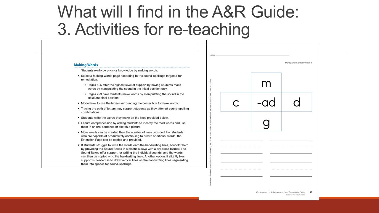 What will I find in the A&R Guide: 3. Activities for re-teaching