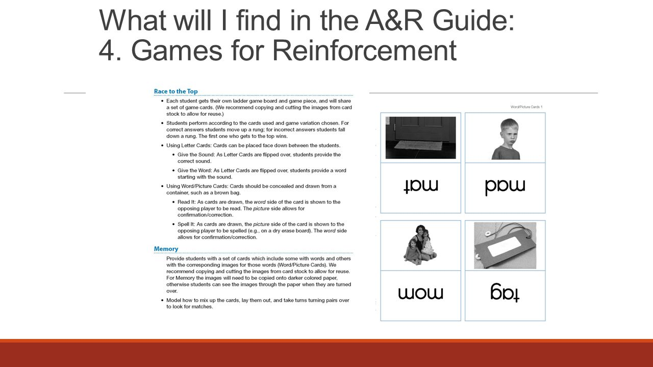 What will I find in the A&R Guide: 4. Games for Reinforcement