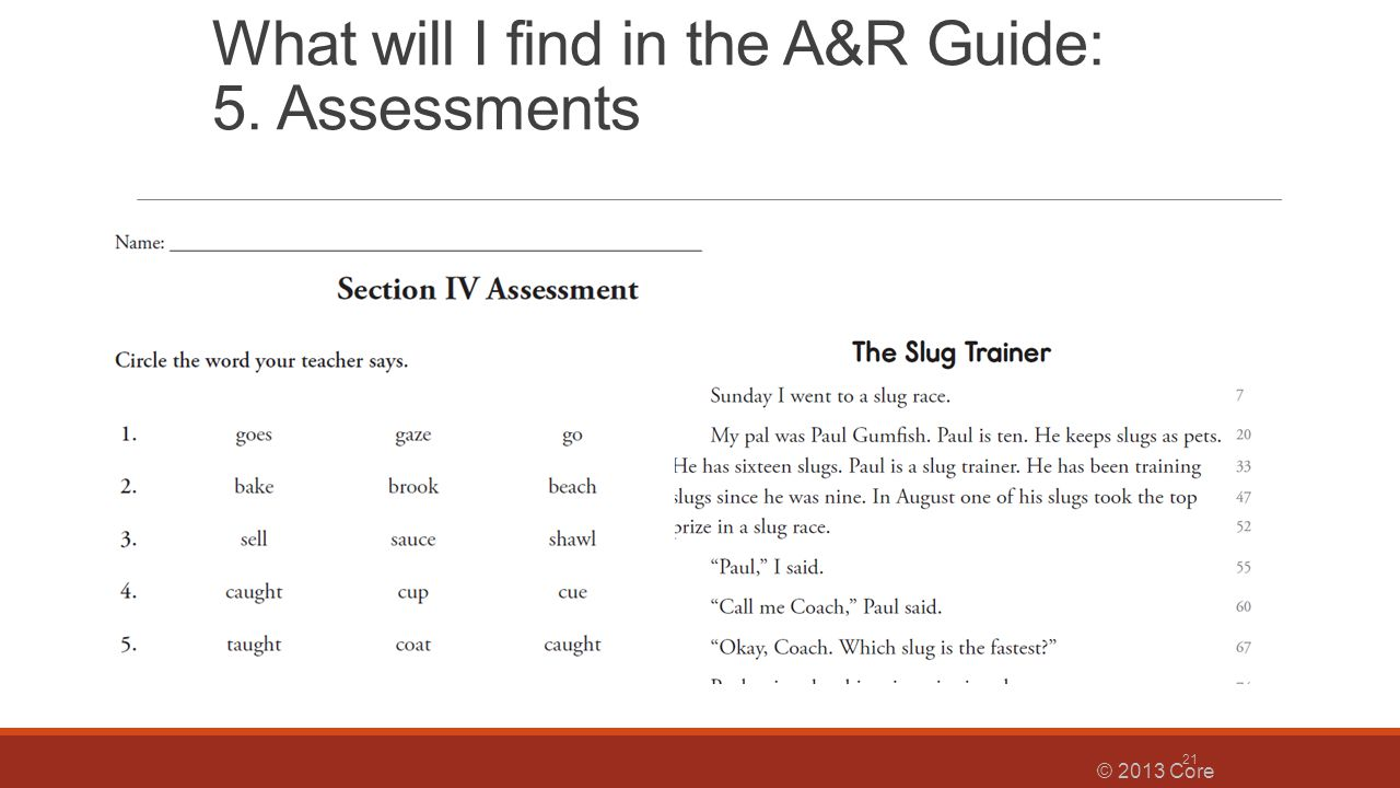 What will I find in the A&R Guide: 5. Assessments
