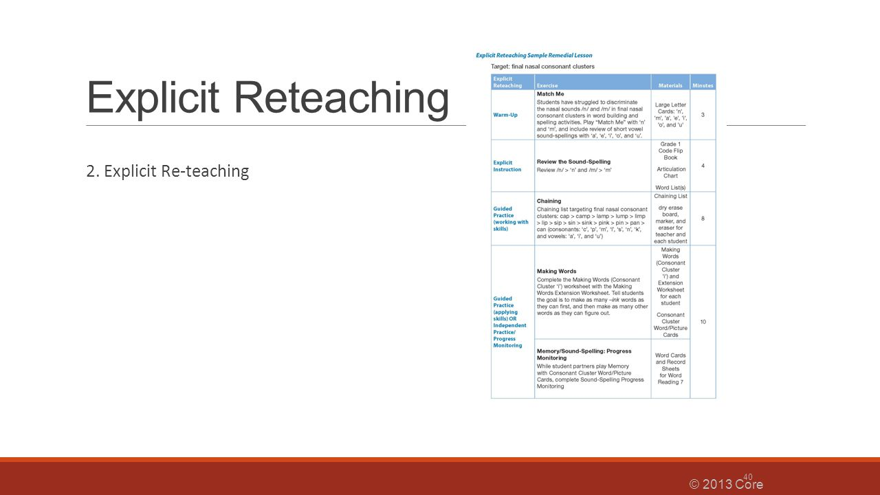 Explicit Reteaching 2. Explicit Re-teaching