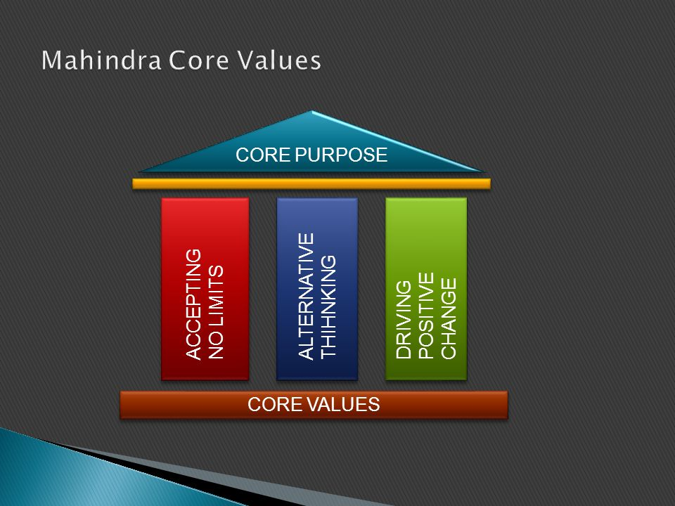 Mahindra Core Values CORE PURPOSE ACCEPTING ALTERNATIVE THIHNKING