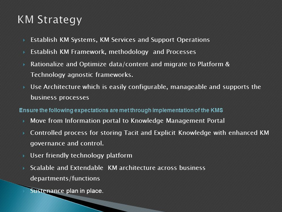 KM Strategy Establish KM Systems, KM Services and Support Operations