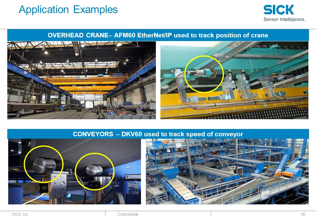 Application Examples OVERHEAD CRANE– AFM60 EtherNet/IP used to track position of crane.