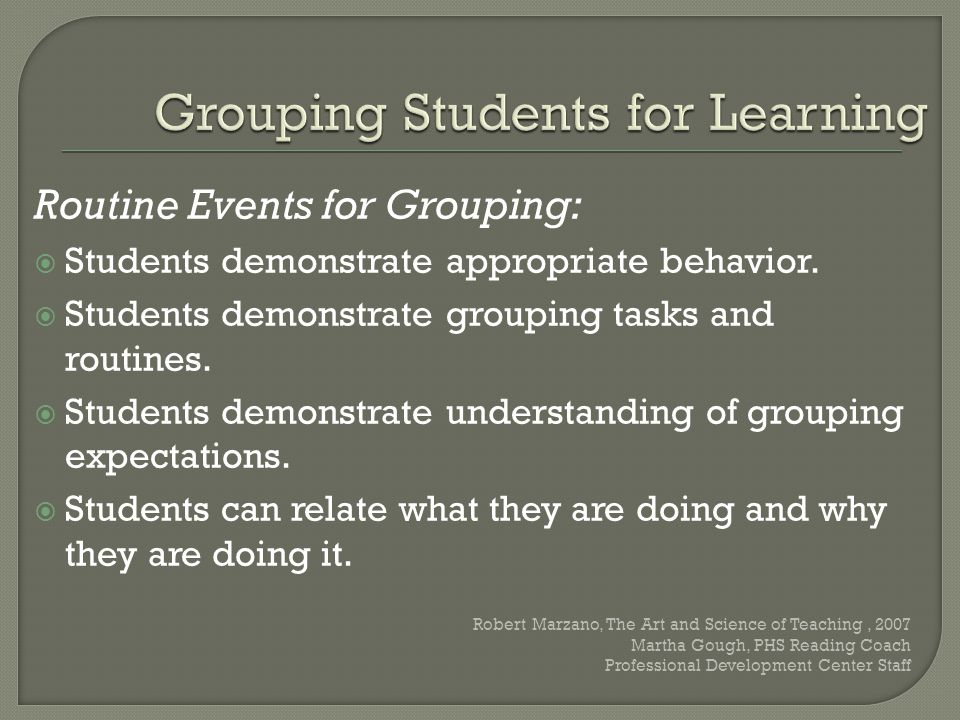 Grouping Students for Learning