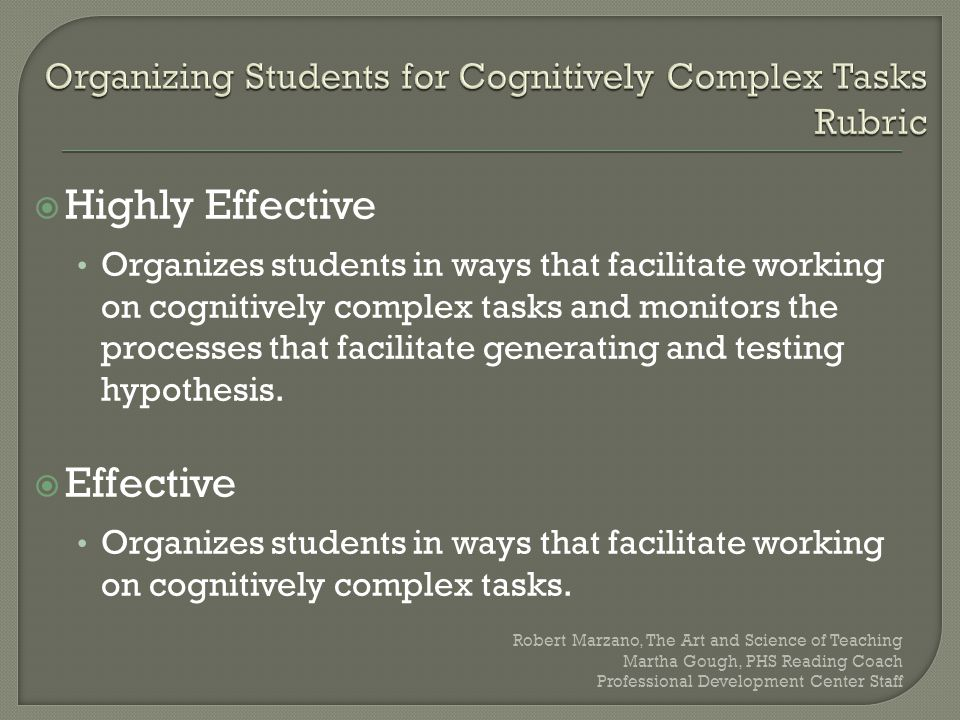 Organizing Students for Cognitively Complex Tasks Rubric
