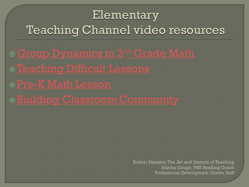 Elementary Teaching Channel video resources