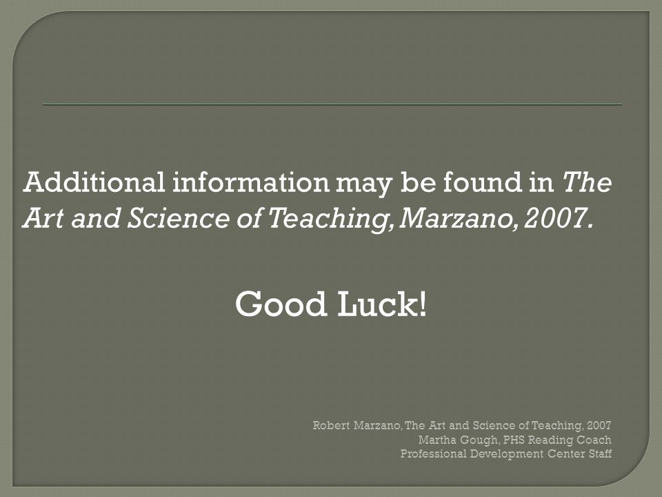Additional information may be found in The Art and Science of Teaching, Marzano, 2007.