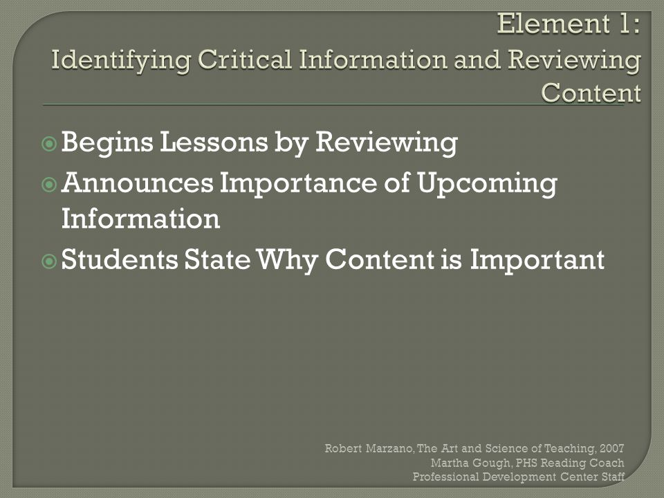 Element 1: Identifying Critical Information and Reviewing Content