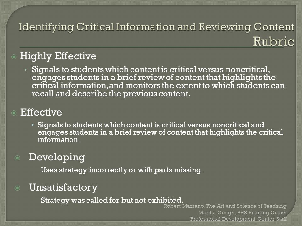 Identifying Critical Information and Reviewing Content Rubric