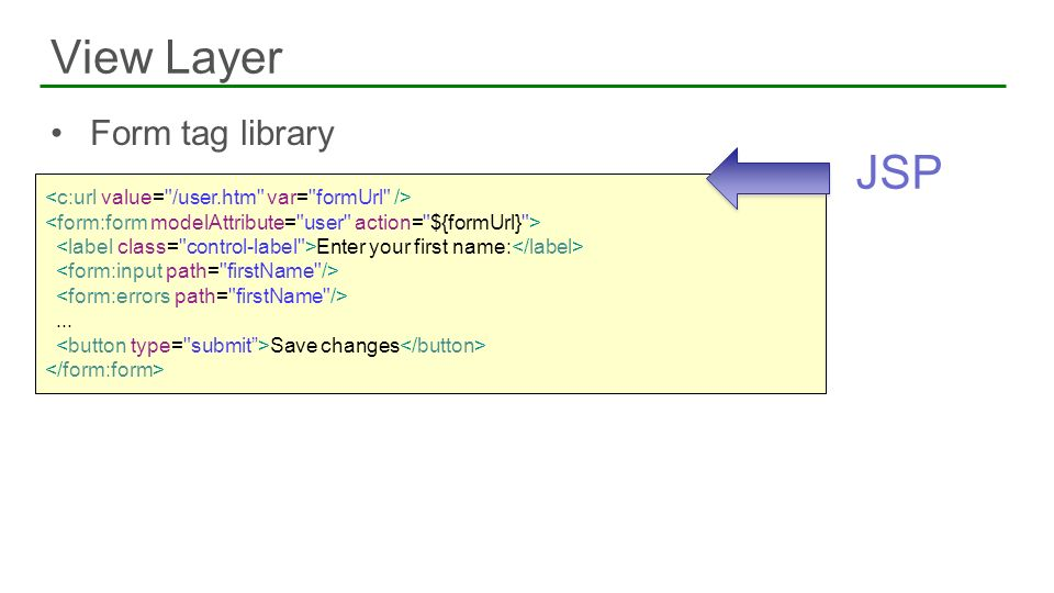 View Layer JSP Form tag library