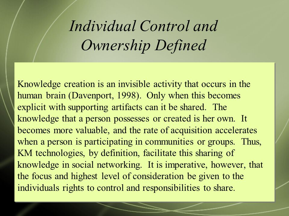 Individual Control and Ownership Defined