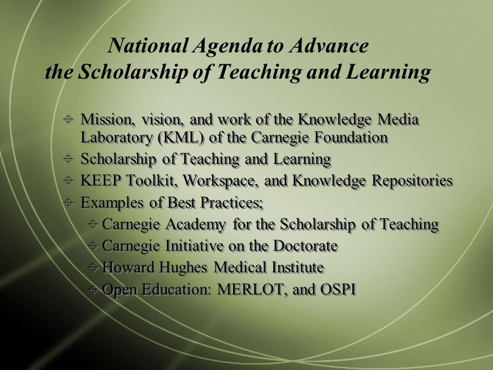 National Agenda to Advance the Scholarship of Teaching and Learning