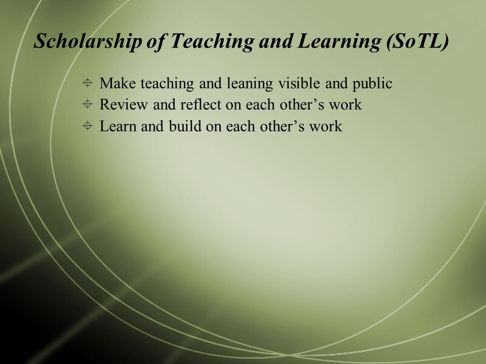 Scholarship of Teaching and Learning (SoTL)