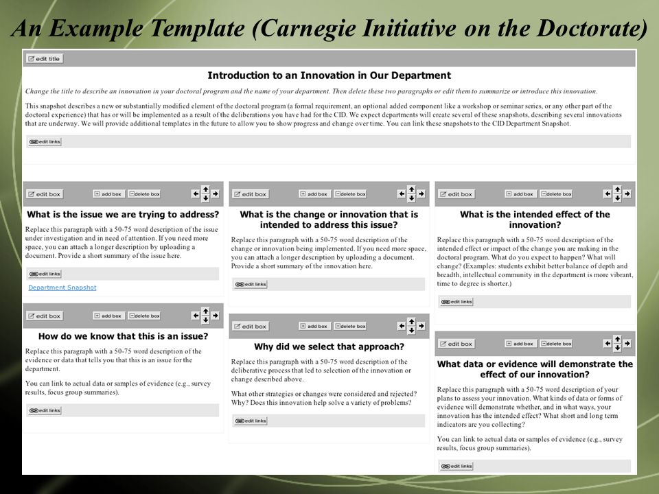 An Example Template (Carnegie Initiative on the Doctorate)