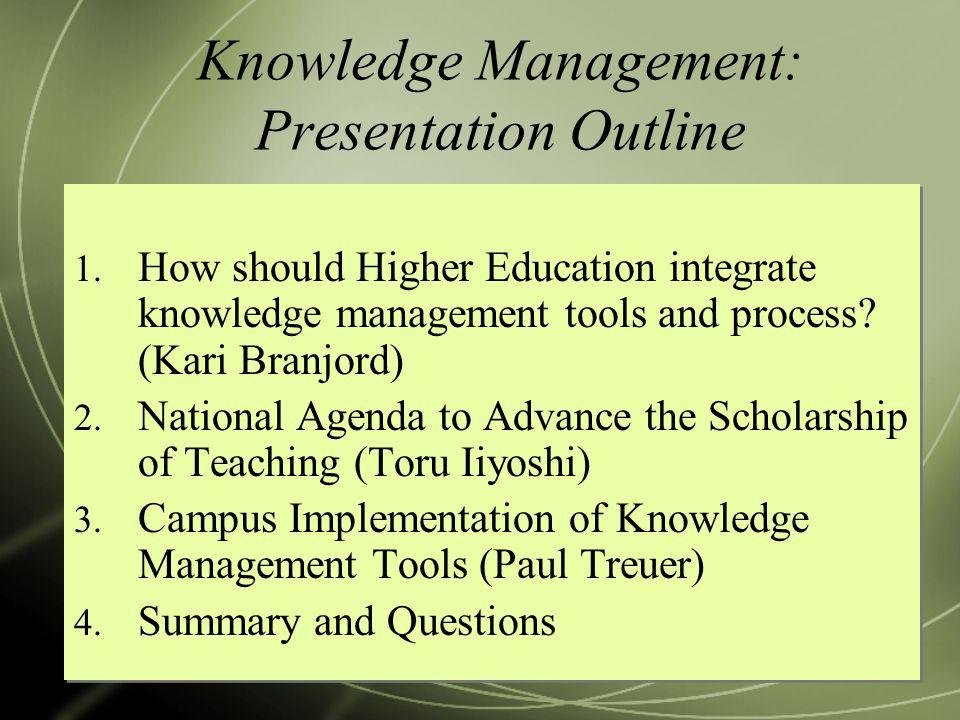 Knowledge Management: Presentation Outline