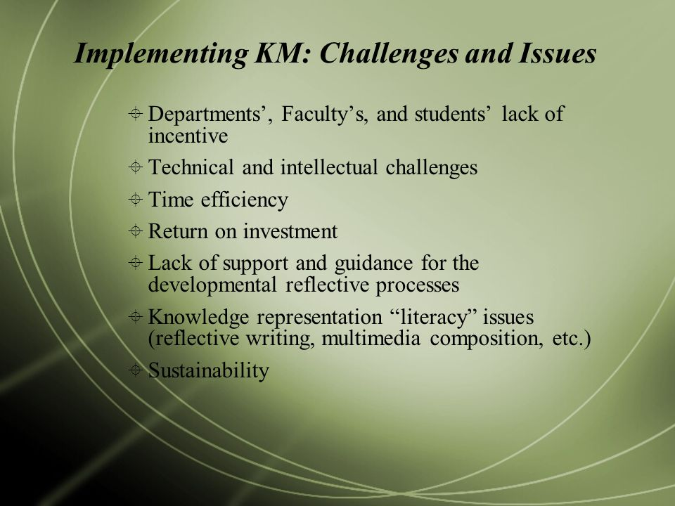 Implementing KM: Challenges and Issues