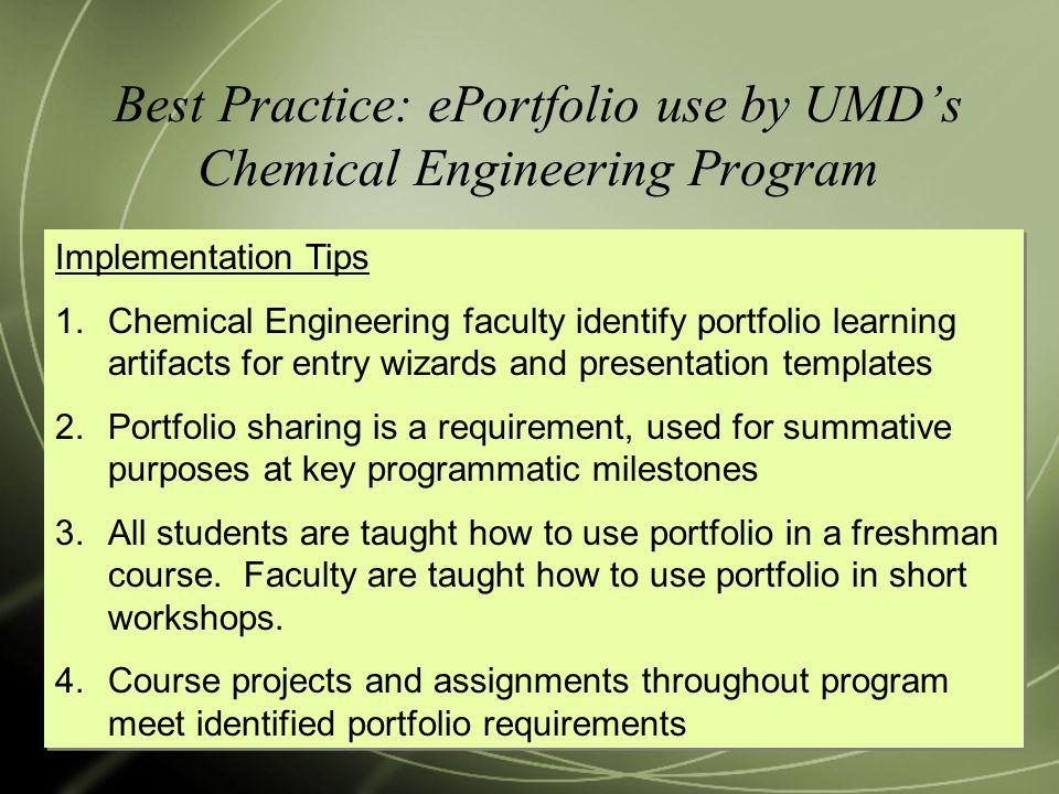 Best Practice: ePortfolio use by UMD's Chemical Engineering Program