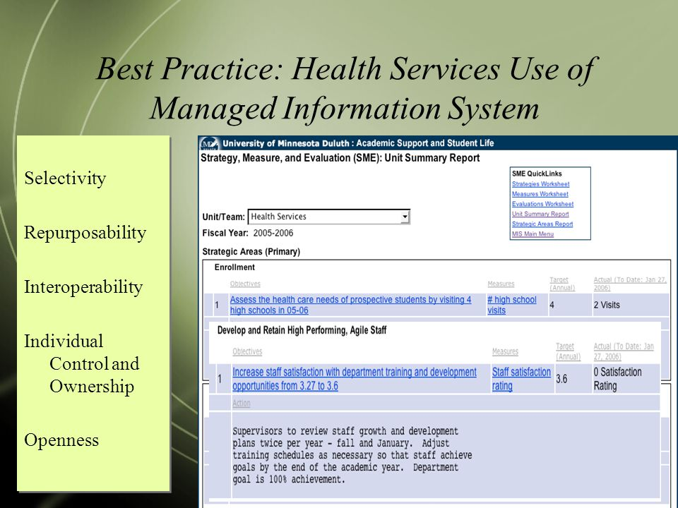 Best Practice: Health Services Use of Managed Information System