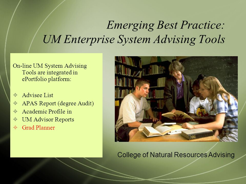 Emerging Best Practice: UM Enterprise System Advising Tools