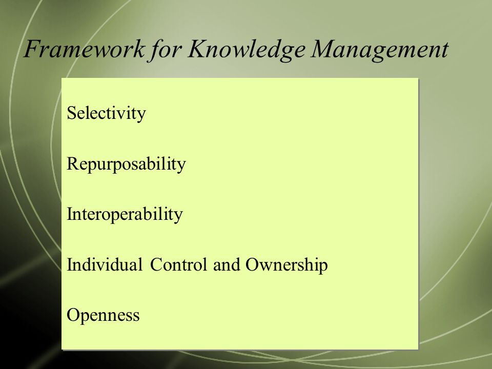 Framework for Knowledge Management