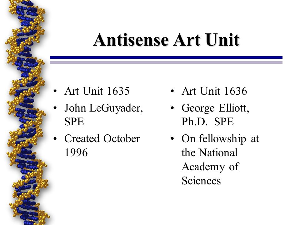 Antisense Art Unit Art Unit 1635 John LeGuyader, SPE