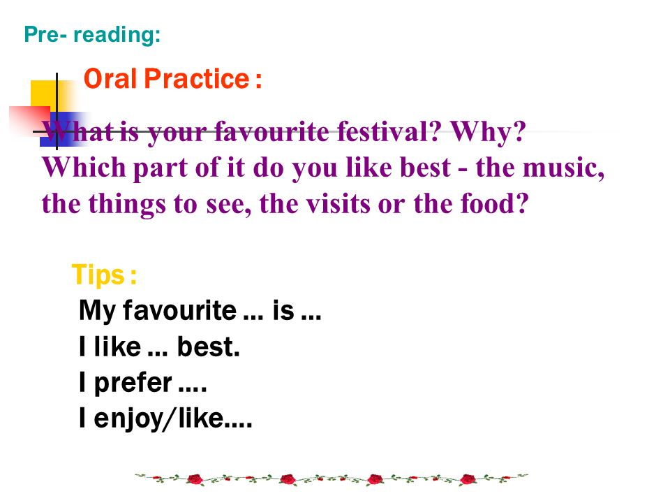 What is your favourite festival Why