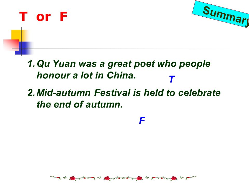 T or F Qu Yuan was a great poet who people honour a lot in China.