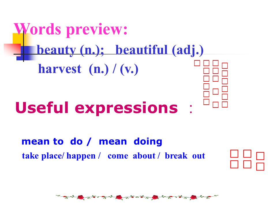 Words preview: Useful expressions :