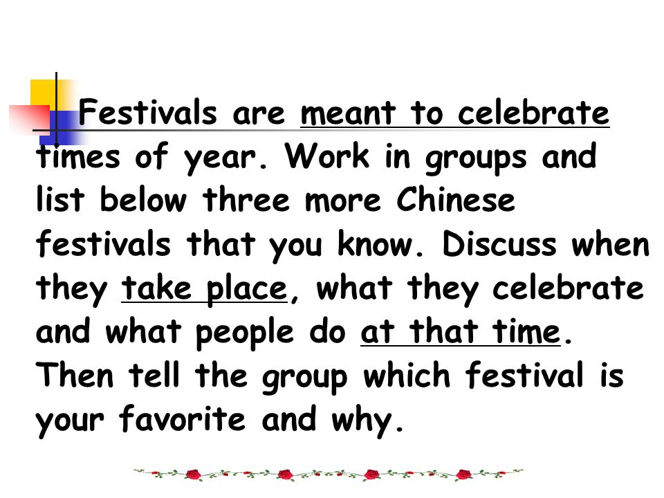 Festivals are meant to celebrate