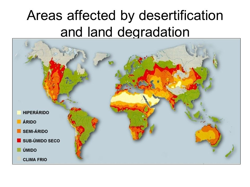 Areas affected by desertification and land degradation